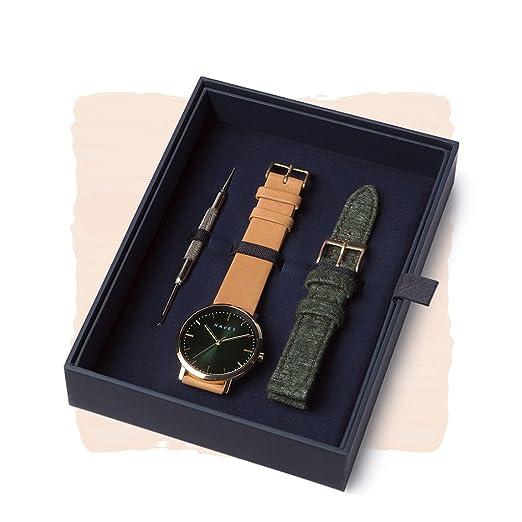 HAVET | Reloj de mujer · Dyna Special Edition · de acero color oro, correa de piel y correa adicional: Amazon.es: Relojes
