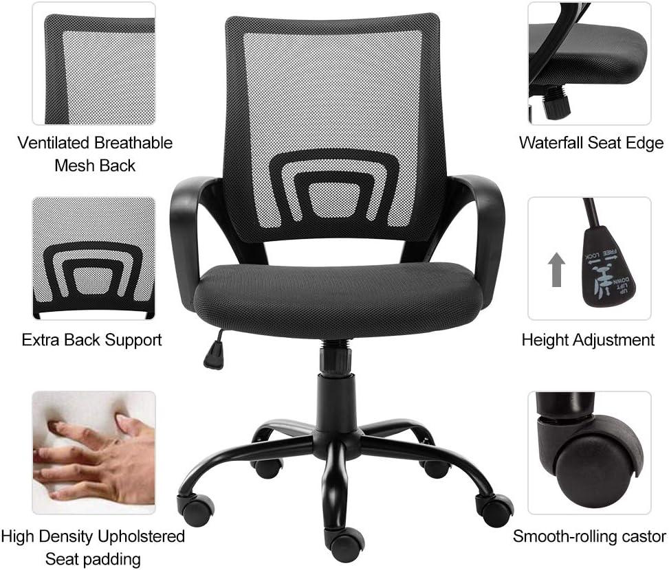 Black Bonzy Home Office Chair Ergonomic Mesh Desk Chair Computer Chair Lumbar Support Modern Adjustable Rolling Swivel Chair Home Office Desk Chairs