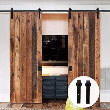 LWZH 13.6FT/413cm Herraje para Puerta Corredera Kit para Puertas Dobles,Negro J-Forma: Amazon.es: Bricolaje y herramientas
