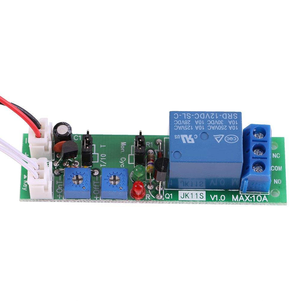 DC 5V 12V 24V Adjustable Cycle Trigger Delay Timing Timer Relay On/Off Switch(DC12V 0-120min Adjustable)