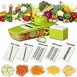 Mandoline Slicer + Peeler & eBook - Potato Slicer - Vegetable Cutter - Mandolin Slicer for Cucumber, Onion, with 5 Stainless Steel Blades - Julienne Vegetable Slicer - Food Container - Mandolin