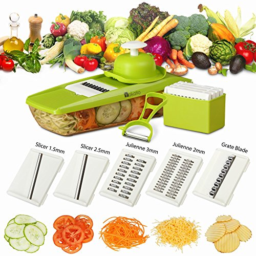 Mandoline Slicer + Peeler & eBook - Potato Slicer - Vegetable Cutter - Mandolin Slicer for Cucumber, Onion, with 5 Stainless Steel Blades - Julienne Vegetable Slicer - Food Container - Mandolin Mandolin Potato Slicer