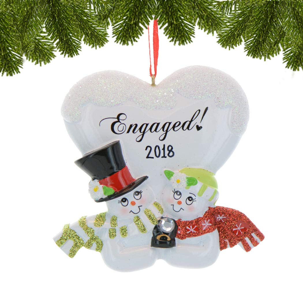Personalized Engaged Christmas Tree Ornament 2019 Cute Romantic Snowman Couple Diamond Engagement Ring Heart She Said Yes Marry Me White 1st Happy