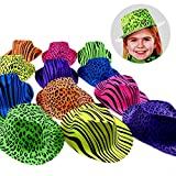 Novelty Place [Party Stars] Neon Color Animal Print Plastic Party Hats for Kids Teens and Adult (Pack of 24)