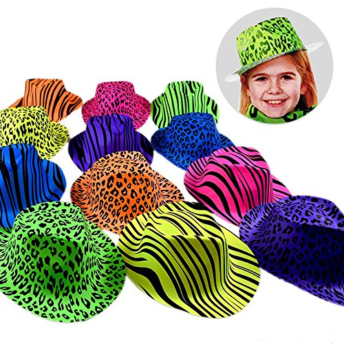Novelty Place [Party Stars] Neon Color Animal Print Plastic Party Hats for Kids Teens and Adult (Pack of (Adult Novelty Hats)