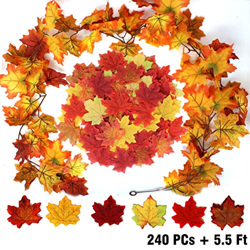 JOYIN 240 Pcs Assorted Artificial Maple Leaves Mixed Fall Colored Fake Leaves with 5.5 Feet Long Maple Leaf Garland for Thanksgiving Decorations Wedding Events Decor
