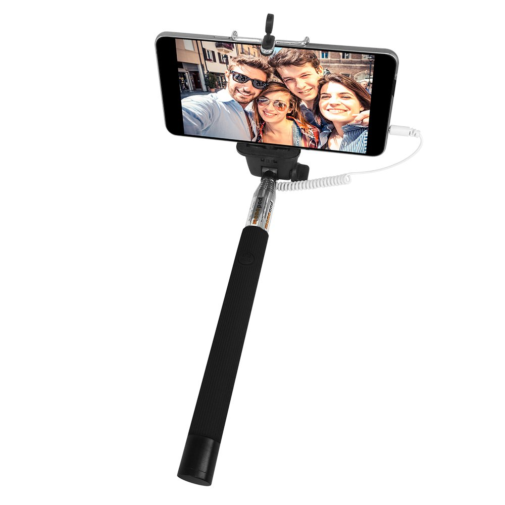 Selfie Stick, BENGOO Extendable Monopod No Bluetooth Pairing No Battery Charging Remote Control Selfie Stick Handheld Selfie Holder For iPhone 6 iPhone 6 Plus Samsung and Other Smartphones-Black