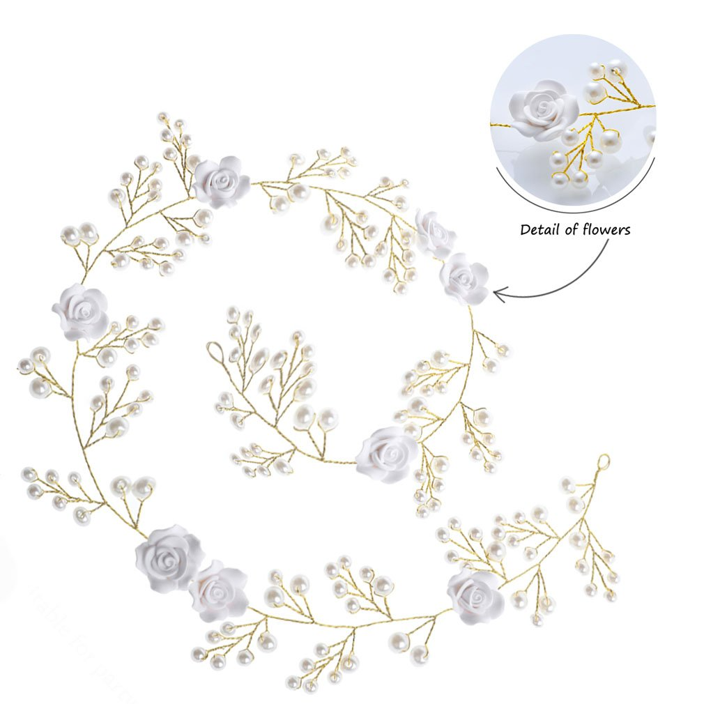 handcess boda flor blanca de pelo Vine diadema pelo banda Boho Flor Novia accesorios para el pelo para Novias y damas de honor: Amazon.es: Belleza