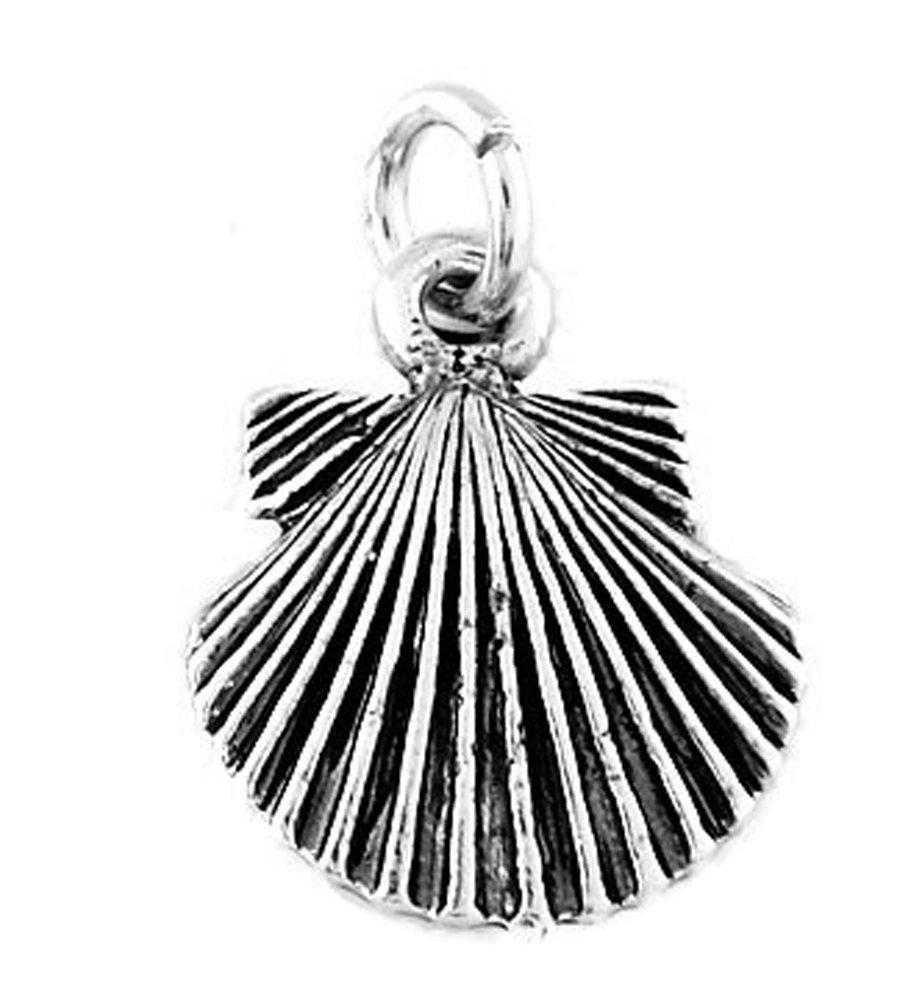 Sterling Silver Oxidized Seashell Charm