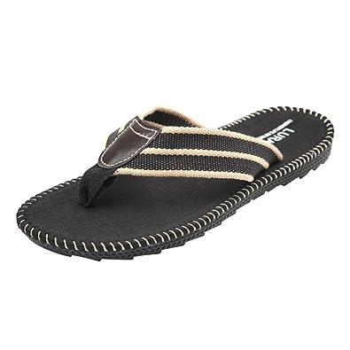 68bf50bfc8a6 Baymate Men s Flat Sandals Flip Flops Breathable Beach Shoe  Amazon ...