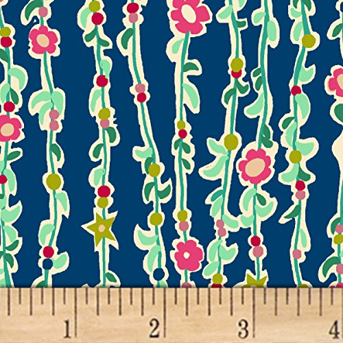 Windham Fabrics Butterfly Dance Vine of Flowers Royal Fabric by The Yard