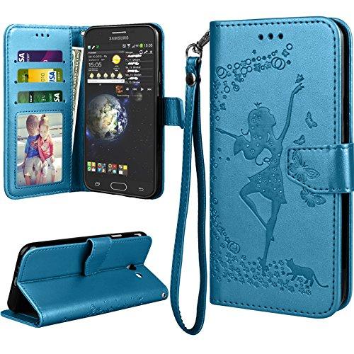 Galaxy J7 Sky Pro / J7 Prime / J7 Perx / J7 V /J7 2017 Case for Girls, Galaxy Halo / J7 2017 Flip Cover, Tekcoo Luxury PU Leather [Blue] -