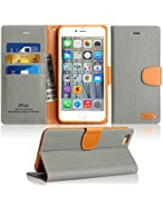 iPhone 8 Case, IPHOX iPhone 7 Flip Case, [Blue] iPhone 7 & 8 Leather Case with  [Cash and Card Slots] [Kickstand] [Magnetic Closure] Premium Folio Flip Notebook Cover Case for iPhone 8 & 7, Jeans