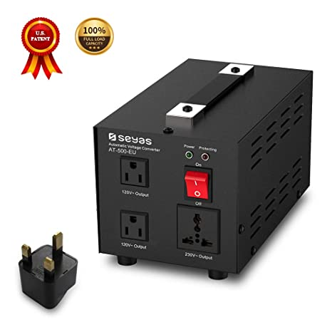 SEYAS - Transformador de tensión (230/220 V a 110 V/120 V, con US) Patente (500 W).