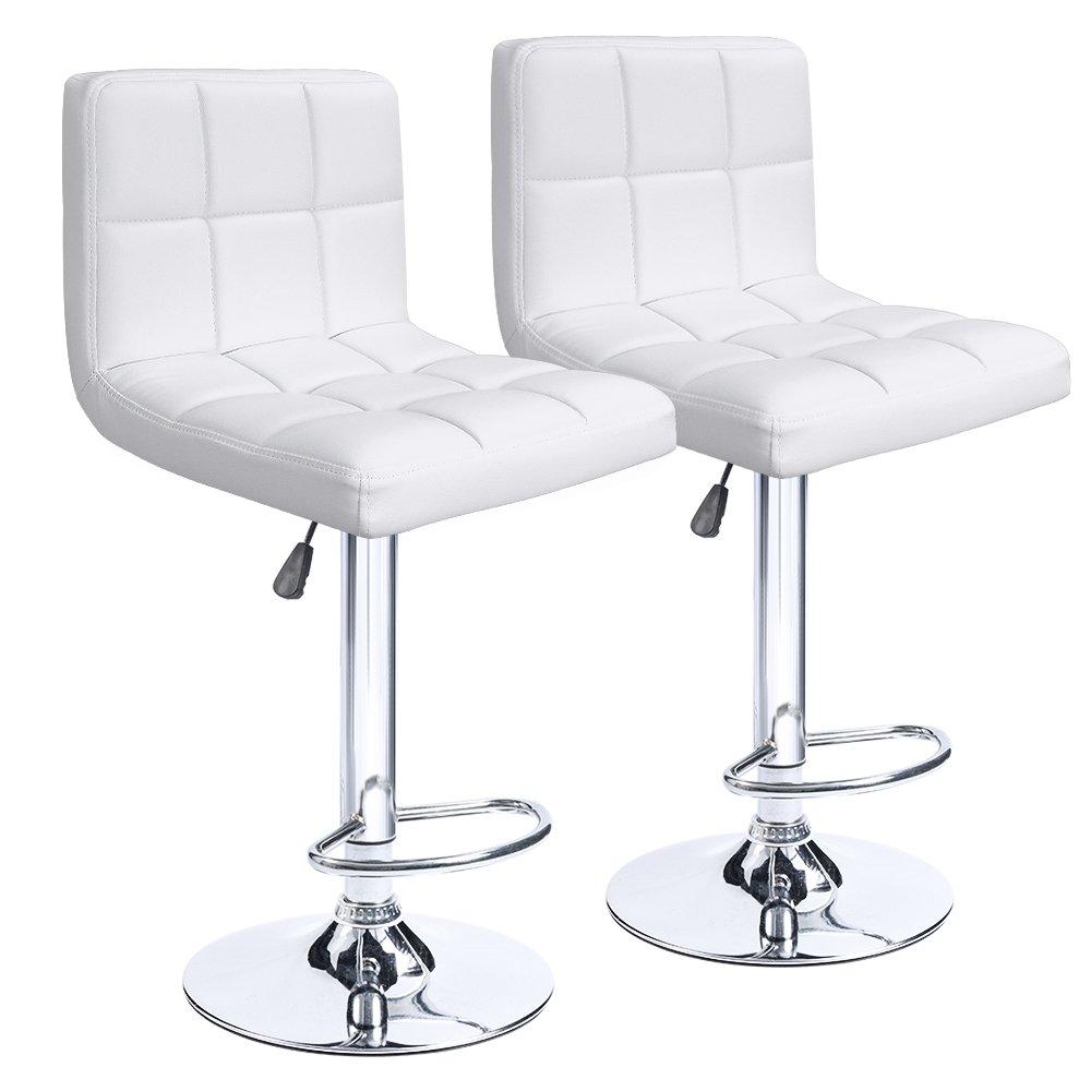 Homall Bar Stools Swivel White Bonded Leather Barstool Adjustable Hydraulic Bar Stool, Set of 2 (White)