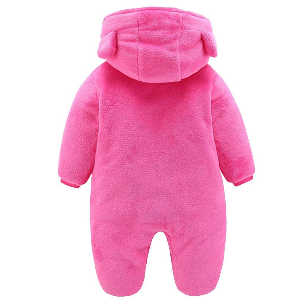 59//44 Baby Winter Fleece Overall Mit Kapuze M/ädchen Jungen Schneeanz/üge Warm Strampler Outfits Rose 0-3 Monate