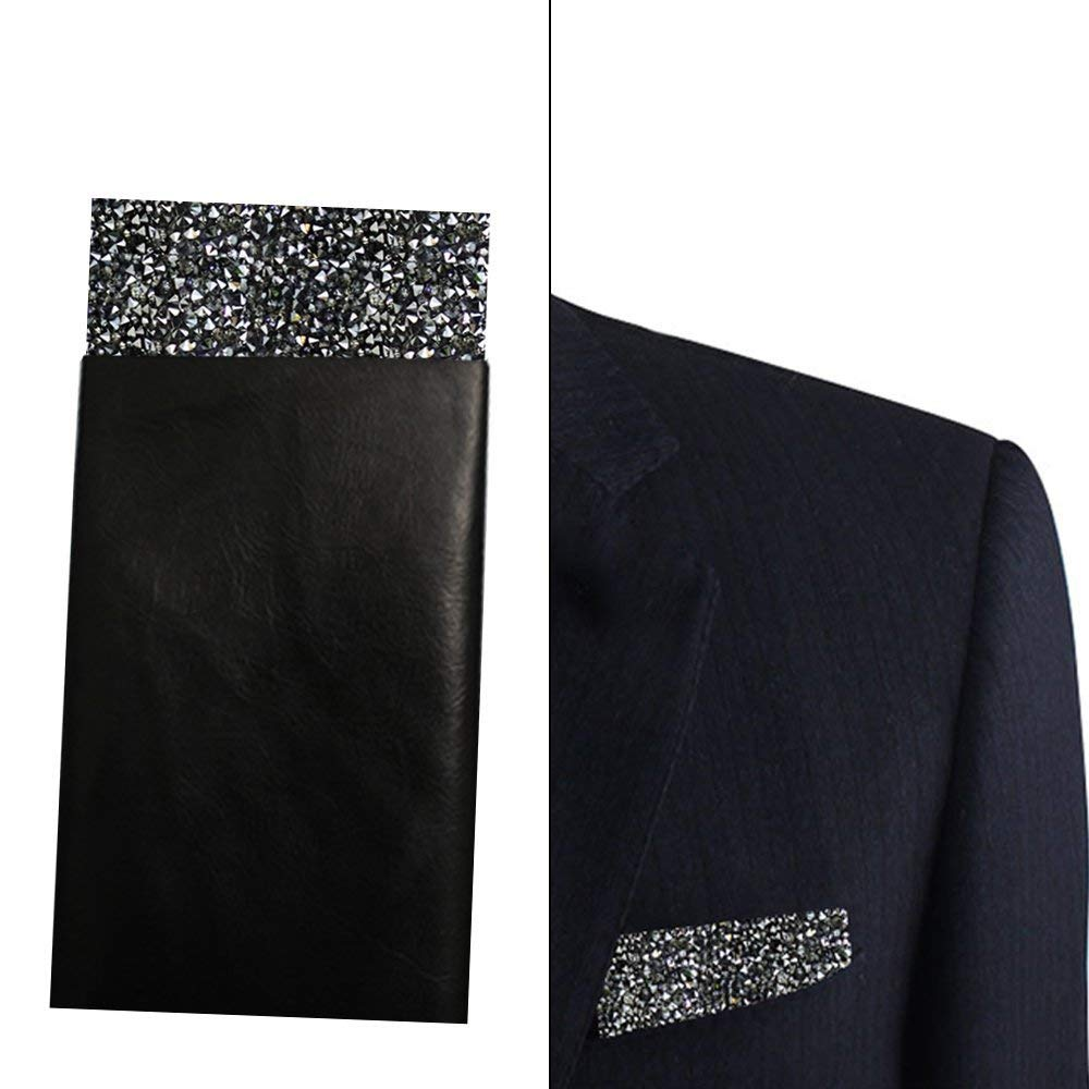 Black Pocket Square, Sparkle black pocket square, Rhinestones Pocket square, Dream Up Idea