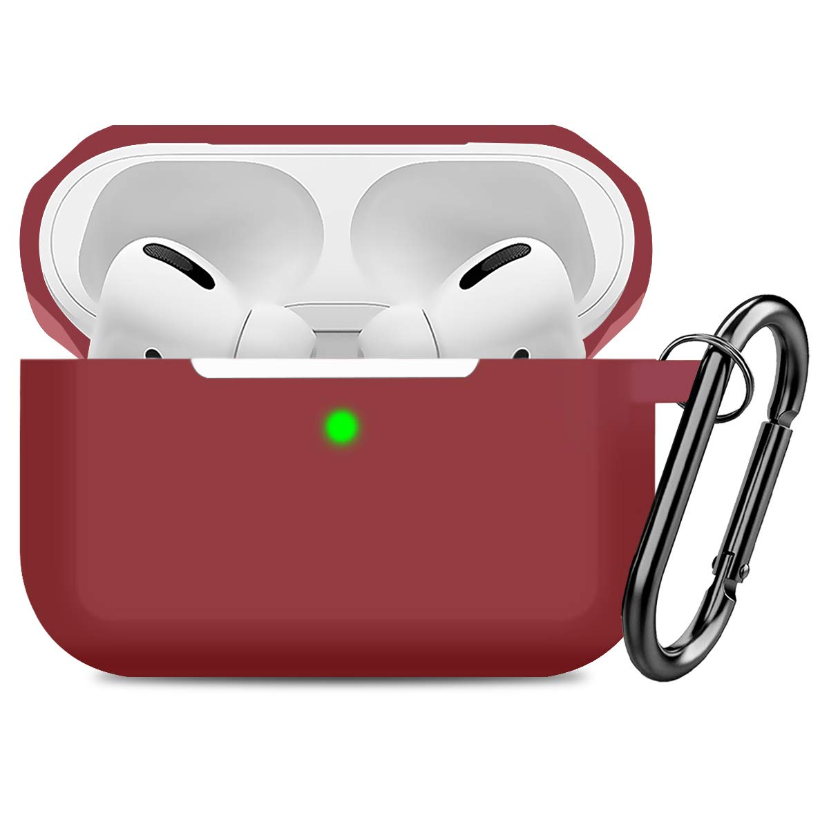 Compatible AirPods Pro Case Cover Silicone Protective Case Skin for Apple Airpod Pro 2019 (Front LED Visible) Wine Red