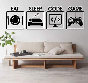 Eat Sleep Game Gaming Bedroom Wall Sticker Decal Transfer Home Art Vinyl Decor