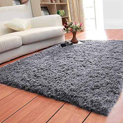 LOCHAS Ultra Soft Indoor Area Rugs Fluffy Living Room Carpets Suitable for Children Bedroom Home Decor Nursery Rugs 4 Feet by 5.3 Feet (Gray) by LOCHAS