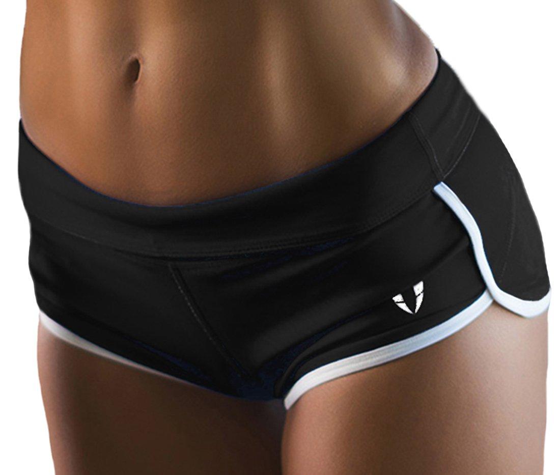FIRM ABS Women's Tights Capri Yoga Running Workout Leggings Pants, Black/White, Small