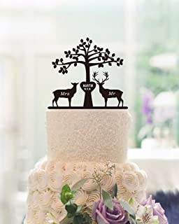 Tree Deer And Buck Wedding Cake Toppers Engraved Mr Mrs Personalized Name Date