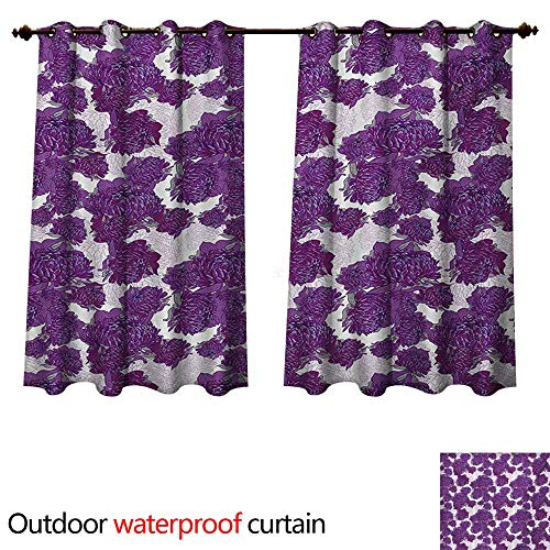 WilliamsDecor Mauve Outdoor Curtain for Patio Unusual Vivid Allium Flower Petals Design Abstract Hippie Victorian Peony Artwork W120 x L72(305cm x 183cm) (Design Knob Petal Flower)