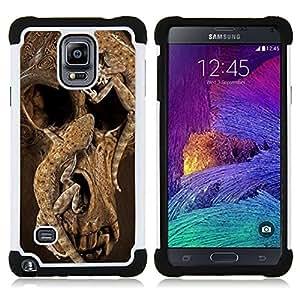 """Hypernova Híbrido Heavy Duty armadura cubierta silicona prueba golpes Funda caso resistente Para Samsung Galaxy Note 4 IV / SM-N910 [Cráneo profundo de la naturaleza animal de Brown""""]"""