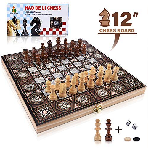 3-in-1 Chess Set - Chess & Checkers & Backgammon, VIRIITA Wooden Chess Magnetic Chess Set, Travel Chess Set with Folding Chess Board, Best Chess Games Gift for Kids and Adults