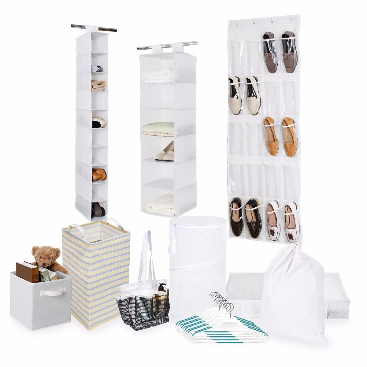 Tidy Living Bundle - Organization Storage Solution Set - Shower Caddy, Hanging Organizers, Hangers, Underbed Storage, Hampers, Laundry Bag, Bin and 20 Pocket Over The Door (White)
