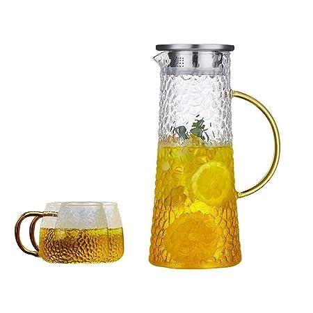 BB&ONE jarra de cristal de 1,4 litros, botella de agua de cristal ...