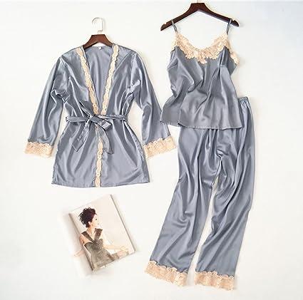 Pijamas Sexy de Tres Piezas de Mujer Sexy Traje de Pijamas de Seda Robe Straps Pijamas