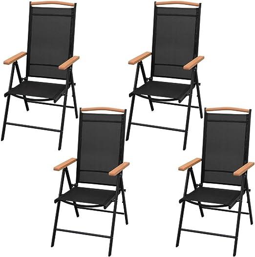 vidaXL Juego de Muebles de Jardín Mesa 4 Sillas Balcón Patio Aire Libre Exterior Terraza Conjunto Salón Aluminio WPC y Textileno Negro: Amazon.es: Hogar