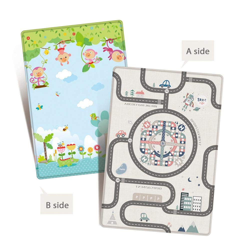 Womdee Play Mat for Baby,Double-Side LDPE Waterproof Road Traffic System Educational Flying Chess Playmat for Baby Toddler Kids,200x180x1cm,Extra Large