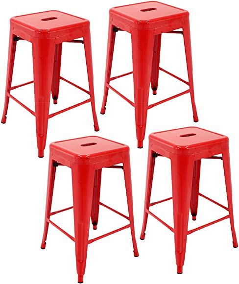 Porthos Home Stackable Indoor Outdoor Metal Patio Counter Stool with 24 Seat Height, Set of 4, One Size,