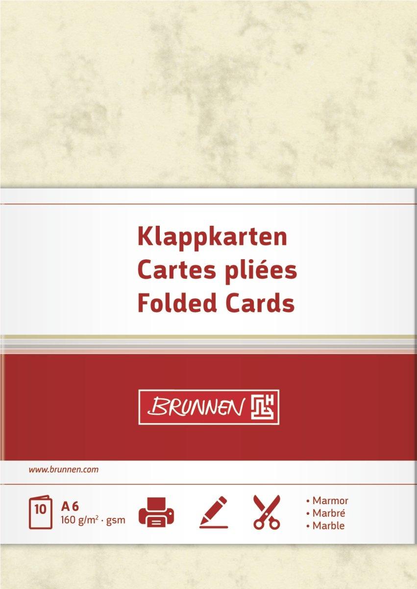 Brunnen - Cartoncini bianchi multiuso/biglietti per appunti/bigliettini/ biglietti da visita formato A6, grammatura 160 g/m², 10 fogli, colore: Camoscio marmorizzato 105141511