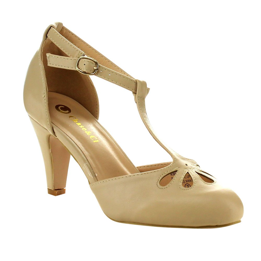 1950s Style Shoes Kimmy-36 Womens Teardrop Cut Out T-Strap Mid Heel Dress Pumps $35.99 AT vintagedancer.com