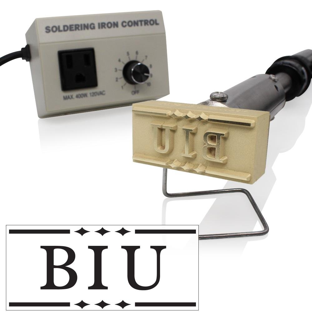 Custom Electric Branding Iron with Monogram and Decorative Border Includes Heating Tool and Temp Control Unit - Large Size