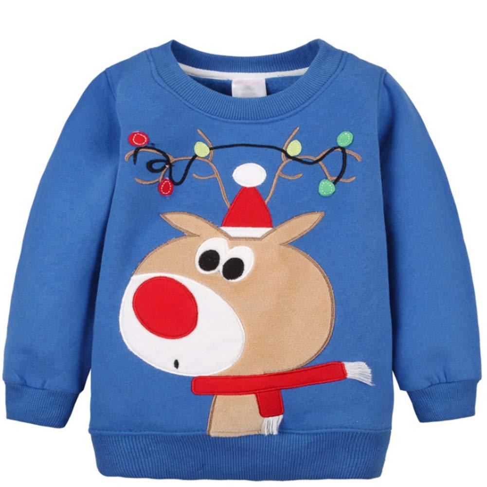 G-Kids Baby Mädchen Jungen Fleecepullover Weihnachtspulli Kleinkinder Herbst Winter Verdickte Warm Langarm Pullover Sweatershirt Oberbekleidung