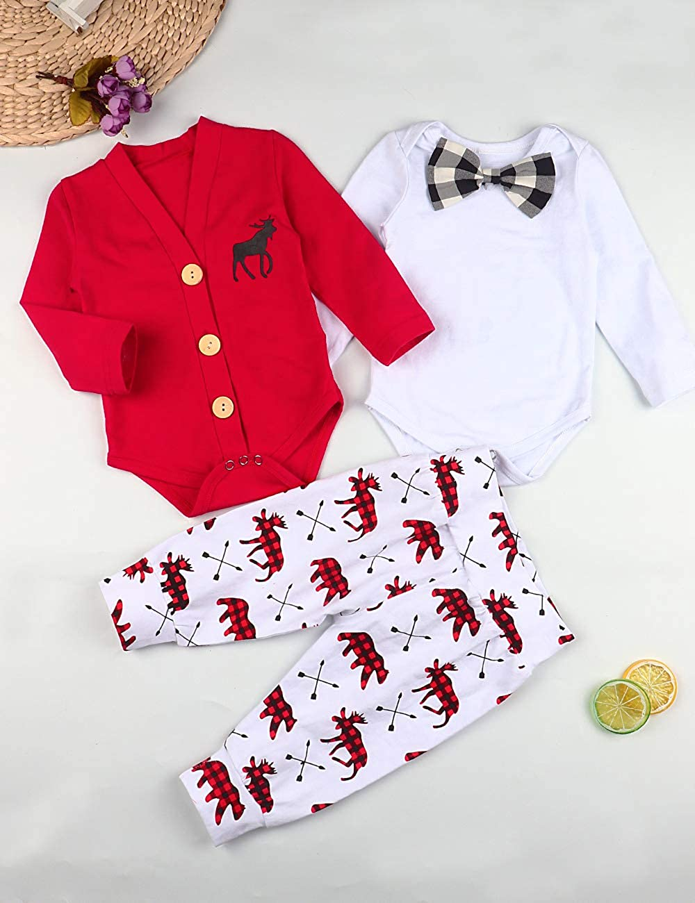 3Pcs Baby Boy Christmas Outfits Baby Gentleman Suit Long-Sleeve Cardigan+Bow Tie Romper Bodysuit+Pants Newborn Clothing Set