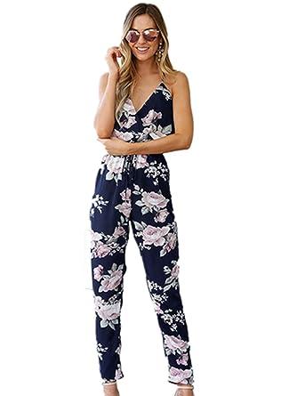 f93a82d77fa459 Ansenesna Jumpsuit Damen Sommer Lang Träger Elegant Overall Blumen V  Ausschnitt Rückenfrei Abendmode (S,