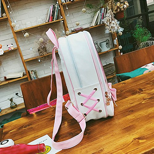 Espeedy Las mujeres verano durce caramelo Color PVC Transparente Mochila Bowknot Zipper Bag Niñas Escuela Mochilas azul