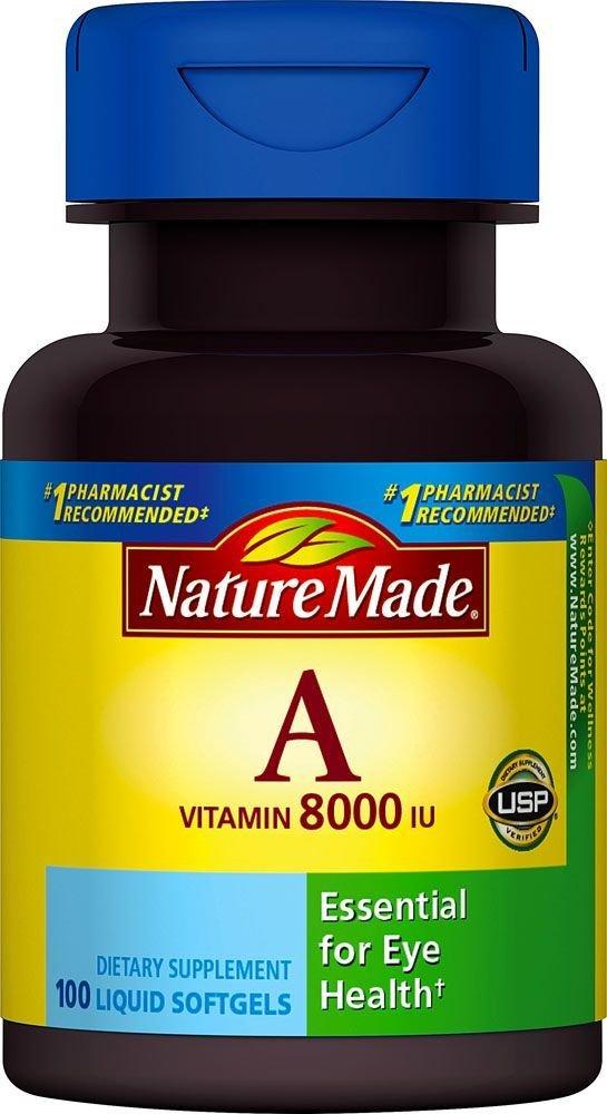 Nature Made Vitamin A 8000 I.U. Softgels 100 Soft Gels (Pack of 8)