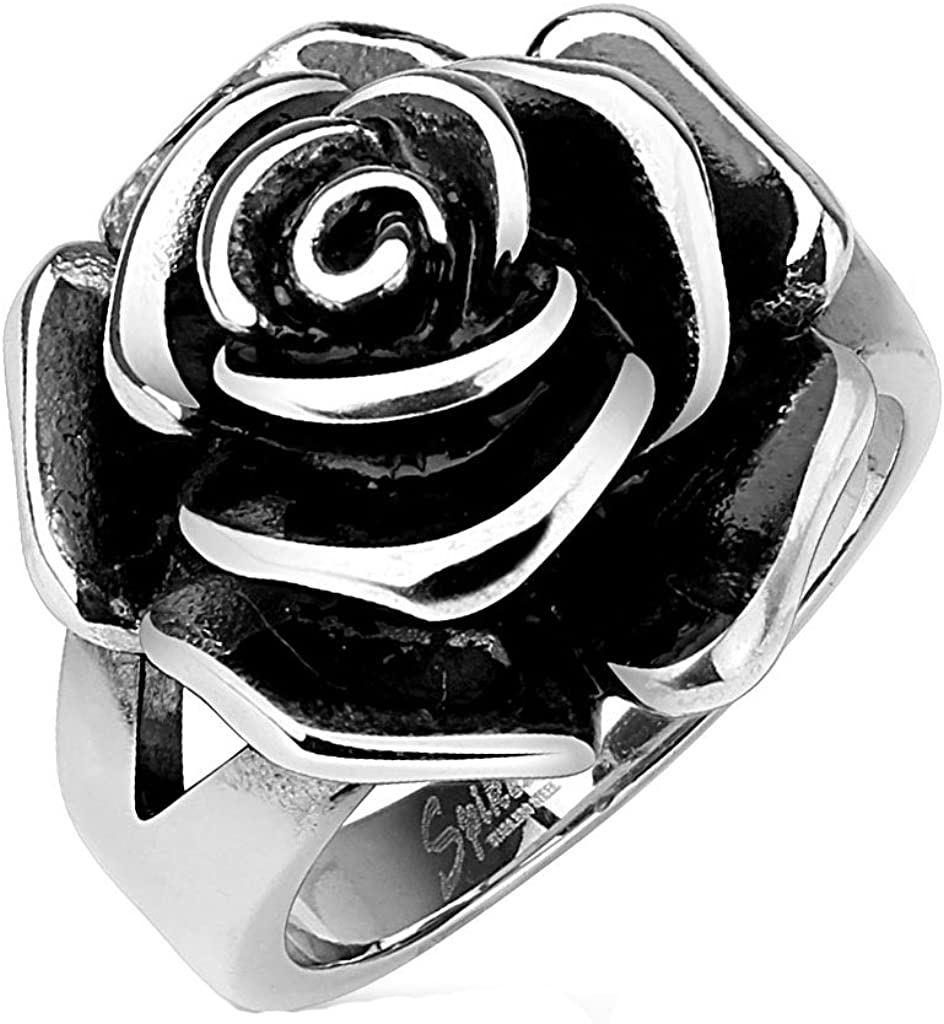 Blue Palm Jewelry - Rings Full Bloom Single Rose Cast Band Ring Stainless Steel Band Ring R657