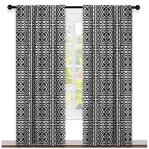 BottleTip Black and White Blackout Curtain Monochrome Abstract Floral Repeating Motifs in Square Shape with Waves 2 Panel Sets Black and White
