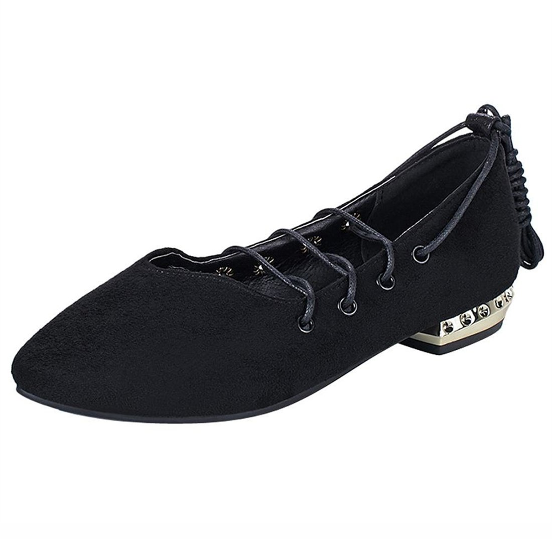 UH Damen Glitzer Flache Halbschuhe mit Schnuuml;rung Spitze Slipper Pailletten Bequeme Schuhe36 EU|Schwarz