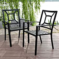 Garden and Outdoor PHI VILLA Patio Metal Dining Chair Set of 2, Stackable Steel Arm Chairs for Outdoor, Deck, Yard – Black