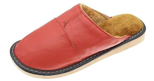 YOOEEN Zapatillas de Invierno Zapatillas de Estar por Casa de Piel Suave Caliente Pelusa Forro Pantuflas Interior Antideslizante Transpirable Impermeable ...