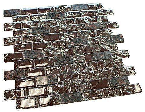 Dark Red Broken Glass & Brown Granite Mosaic Tiles for Bathroom and Kitchen Walls Kitchen Backsplashes