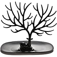 ROSENICE Decorative Deer Antler Tree Design Bracelet Necklace Holder/Black Jewelry Organizer Stand w/Ring Tray (Black)